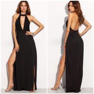 Dresses & Skirts - BLACK Halter Backless Cut Out Slit Dress